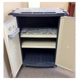 MSRP $500 Workforce Multi-Purpose 3 Shelf Plastic Storage Cabinet On Locking Wheels - Can Be Locked With Padlock - Great Condition...A little Dusty...