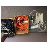 Multiple Extension Cords and Desktop Computer Power Unit Cable