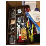 Box Of Office supplies, Paper, Files, Pens, Notebooks, EXC.