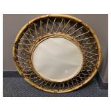 """Burnt Bamboo Circular Home Decor Mirror - Approx 14"""""""