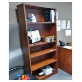 MSRP $900 High Quality HON Executive Office Mahogany Finish 5 Level Bookcase Shelving Unit - Made To Last More Than A Life Time - Excellent Condition!  Contents Not Included! Matches Other Pieces In T
