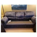 WOWOW RARE $$$$ The Sleep Number Select Comfort Folding Sofa Bed - Gorgeous Blue Fabric!  Queen Size Mattress With Dual Sided Number Adjustment - Excellent Condition!