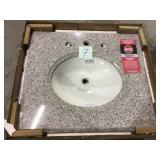 25 in. Granite Vanity Top in Napoli with White Basin by Pegasus Customer Returns See Pictures