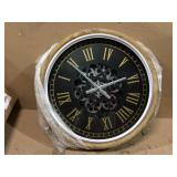 20.47 in. D Vintage Industral Metal Wall Clock with Moving Gears Customer Returns See Pictures
