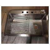 Avenue Drop-in/Undermount Stainless Steel 33 in. Single Bowl Kitchen Sink with Bottom Grid by Elkay Customer Returns See Pictures