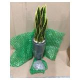 Indoor 3-Ft. Sansevieria Artificial Plant in Gray Bullet Planter by Nearly Natural Customer Returns See Pictures