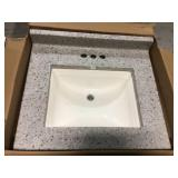 25 in. W Cultured Marble Vanity Top in Moonscape Grey with Solid White Basin and 4 in. Faucet Spread Customer Returns See Pictures