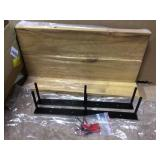 Industrial Grace 5.5in x 24in x 20in Walnut Pine Wood Three-TIer Decorative Wall Shelf with Brackets Customer Returns See Pictures