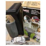 Classic Home Gray Stone / Black Post Mount Mailbox by SIMPLAY3 Customer Returns See Pictures