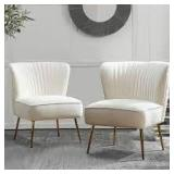 Set of 2 Jayden Monica Ivory Gold Legs Side Chair (Set of 2) not used