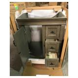 Home Decorators Naples 24 in. W x 21 5/8 in. D Bath Vanity Cabinet Only in Distressed Grey not used see pictures