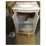 Home Decorators Parkcrest 24 in. W x 22 in. D Vanity in Dove Grey with Marble Vanity Top in White with White Sink not used see pictures