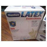 3 boxes of Latex Exam Gloves, One s...