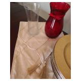Fancy Table Setting: Gold Chargers, Table Runner & Vases