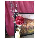 Large Artwork & Decorative Vase of Flowers