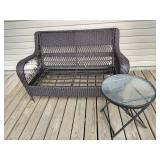Outdoor Wicker Loveseat and Glass Table