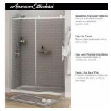 Passage32in.x60 in.x72in.4-Piece Glue-Up Alcove Shower Wall in Gray Subway Tile the retail price$799