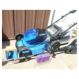 Kobalt self propelled 40 volt lawn mower, weed trimmer & blower. Includes 1 battery & charger. Tested & works. As shown.