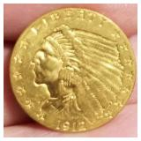 1912 US $2.50 GOLD INDIAN
