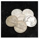 6 US SILVER WWII WARTIME NICKELS