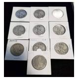 10 MIXED SILVER HALF DOLLARS AS PICTURED