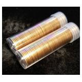 2 ROLLS 1959-D BU-RED US CENTS (100 COINS TOTAL)