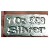 1 TROY OZ. .999 FINE SILVER BAR HAND POURED & STAMPED