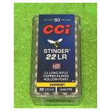 50 Rounds .22 Stinger Copper Plated Hollow Point Ammo Ammunition