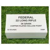 50 Rounds .22 Copper Plated Hollow Point Ammo Ammunition