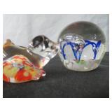 TWO GLASS PAPER WEIGHTS