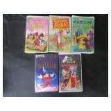 5 DISNEY CARTOON VHS MOVIES