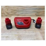 MILWAUKEE M12 12-Volt Lithium-Ion Battery Charger with 2- M12 12-Volt Lithium-Ion Compact Battery Packs (1.5Ah)