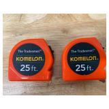 KOMELON Lot of 2-  Tradesman Measuring Tapes, 25ft Blade