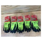 MILWAUKEE Lot of 5-  Large High Visibility Level 4 Cut Resistant Polyurethane Dipped Work Gloves