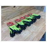 MILWAUKEE Lot of 5-  X-Large High Visibility Level 4 Cut Resistant Polyurethane Dipped Work Gloves