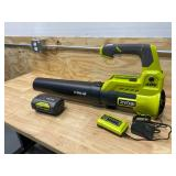 RYOBI 40V 110 MPH 525 CFM Cordless Battery Variable-Speed Jet Fan Leaf Blower with Battery (4Ah) and Charger