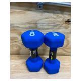 CHAMPION- 8 lb Pair Blue Gear Neoprene Hex Dumbbell Hand Weights