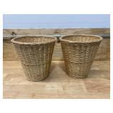 Lot of 2- Wicker Waste Baskets