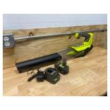 RYOBI ONE+ 18V 100 MPH 280 CFM Cordless Battery Variable-Speed Jet Fan Leaf Blower with 4.0 Ah Battery and Charger
