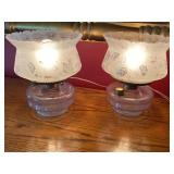 Pair of Vintage Glass Table Top Lamps