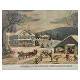 Framed Vintage Print Entitled Winter in the Country
