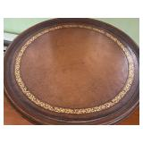 Petite Round Vintage Table w/ Leather Inlaid Top