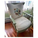 Two Vintage Green Painted Chairs