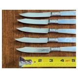 10 Vintage Dinner Knives w/ Sterling and Mother Pearl Handles