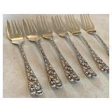 Six Repousse Floral Designed Sterling Salad Forks