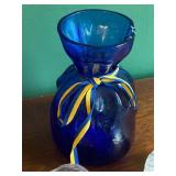 Blue Danish Vase and Four Candle Holders