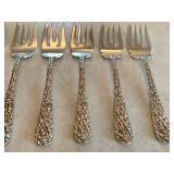 Five Stieff Sterling Salad Forks