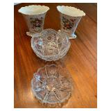 Two Porcelain Vases and Cut Glass Bowl