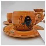 1950s Vintage Pennsbury Pottery Tea Set Rooster and Hex Patterns