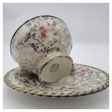 Very Rare 1940s Vintage RW Rudolf Wachter  Demitasse Cup and Saucer with Silver Overlay- Made in Germany U.S. Zone
